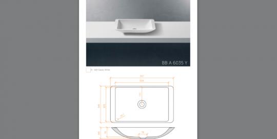 Lavabo sobreencimera modelo BBA6035Y