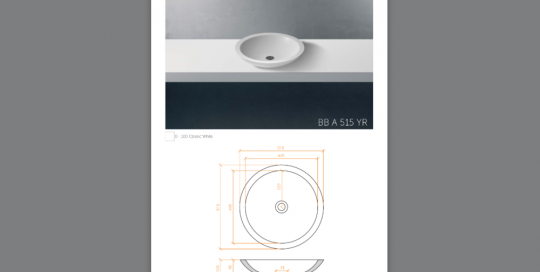 Lavabo sobreencimera modelo BBA515YR