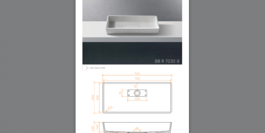 Lavabo sobreencimera modelo BBR7030B