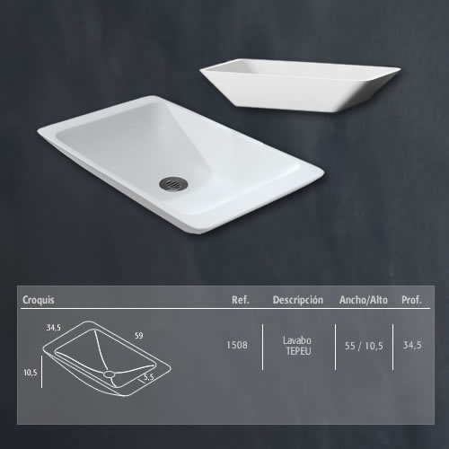 Medidas lavabo modelo Tepeu Arteloer
